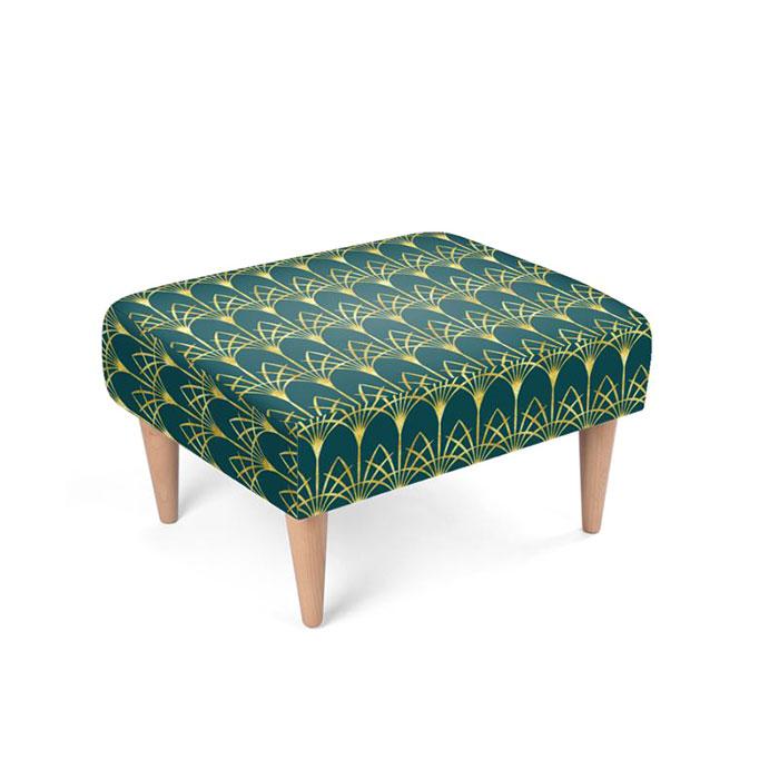 Shop Art Deco Style Gold Emerald Green Retro Footstool Dana Du Design