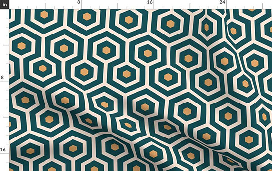Retro emerald hexagons Fabric